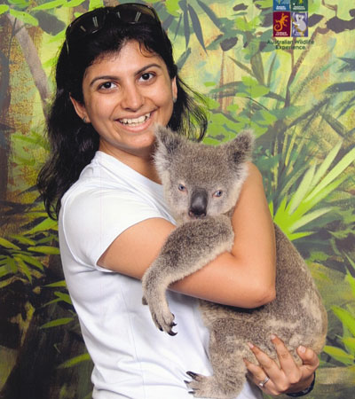 Yazneen with World's only Blue-Eyed Koala
