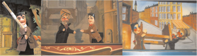 Guignol- a French puppet in various moods