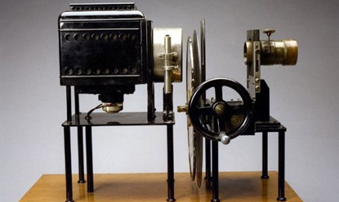 The first movie camera invented by the Lumière brothers.